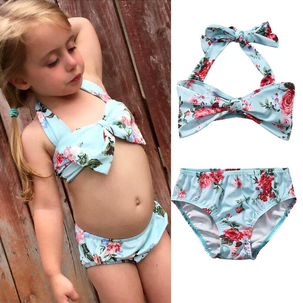 Lovely Kids Baby Girls Flower Bowknot Bikini Set Swimwear Swimsuit Bathing Beach