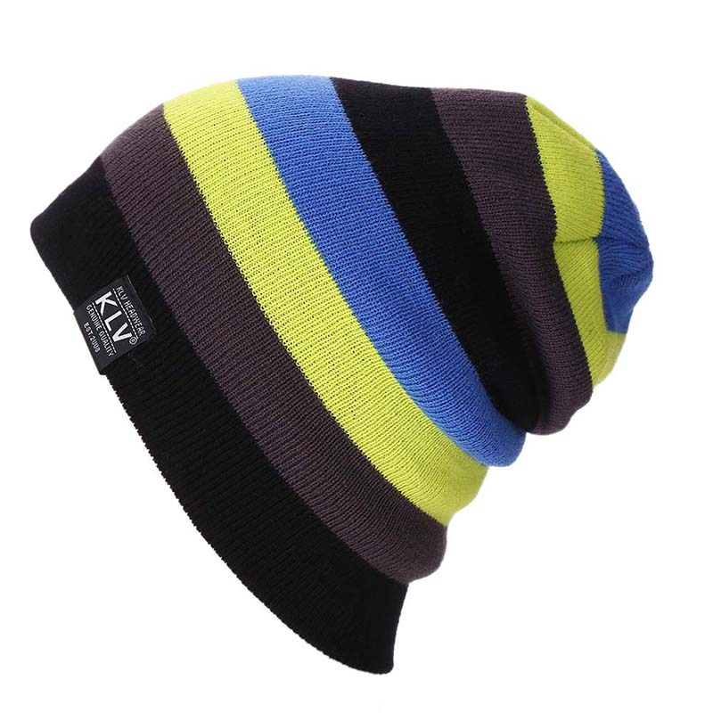 Multicolor Stitching Wool Cap Slouchy Thick Knitted Beanie Hat for Autumn Winter -MX8