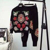 2018 Специальное предложение хлопок костюмы Женская одежда нового фонда осень зима цветок Вязание свитер стопы штаны свободного кроя