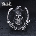 Beier new store 316L Stainless Steel ring top quality Gothic skull Ring with tool Biker Jewelry  BR8-435