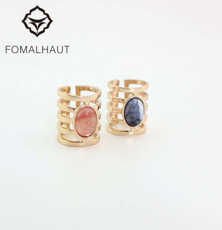 Fashion Hollow Natural stone pink blue FOMALHAUT The Midi Tip Finger Rings For Women Wedding Rings Party Jewelry 2016 RJ-178