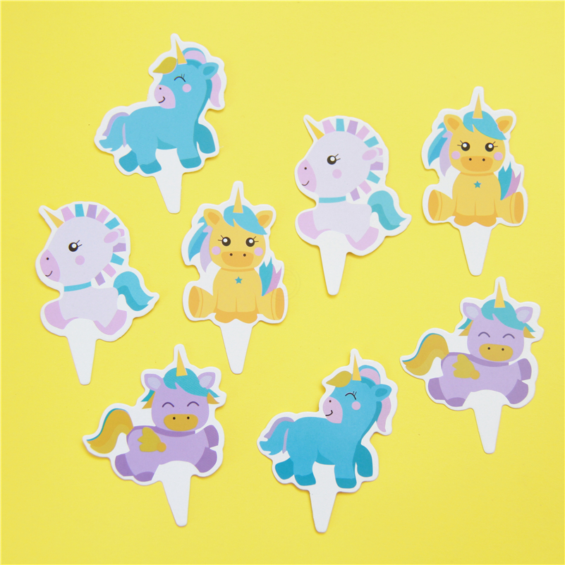 24pcs Baby Unicorn Horse baby candy bar cupcake toppers pick baby shower kids birthday party supplies fruit picks Event Supply