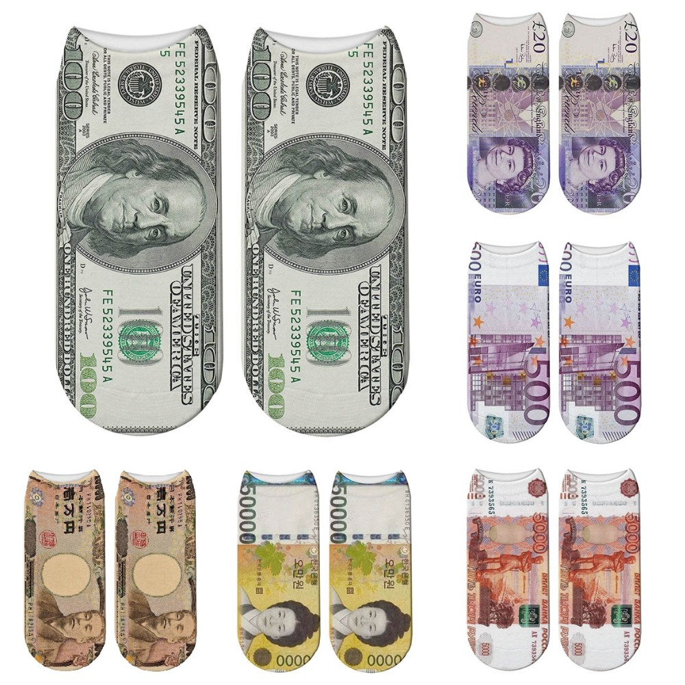 Fashion 3D Printed Harajuku Dollar Socks Yen Won Pound Euro Ruble Women Sock Money Cash Printing Japanese Funny Socks