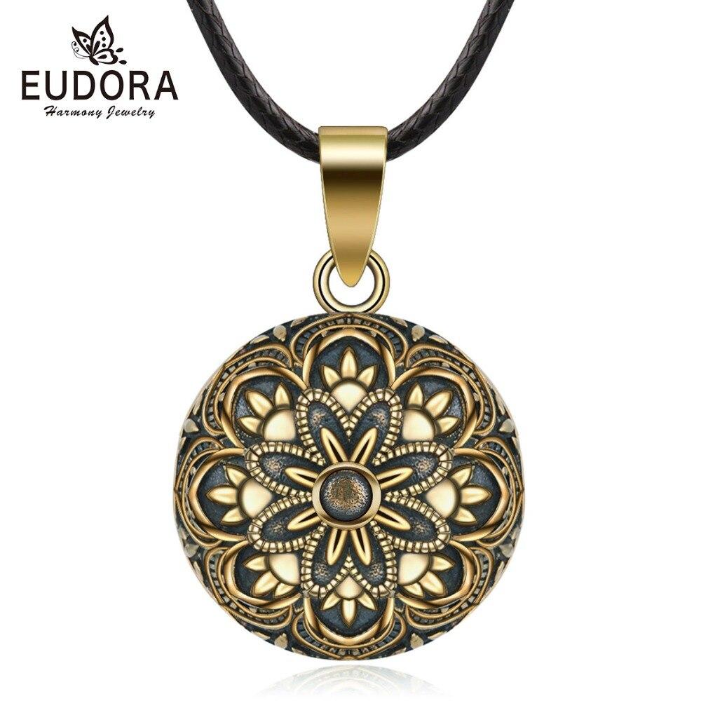 Eudora 20mm cobre bronce Color flor mexicano campana Harmony Bola colgante collar para embarazadas mujeres Vintage joyería B331