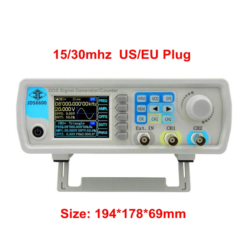 JDS6600 Series Digital Control Dual channel DDS Function Signal Generator Frequency Meter Arbitrary Sine Waveform US/EU Plug-in Frequency Meters from Tools    1