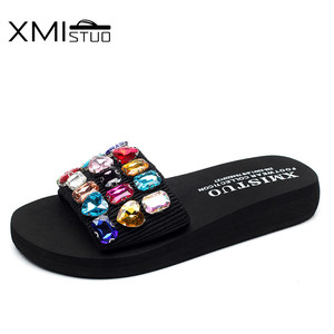 Image 2 - XMISTUO Fashion Women Handmade Sandals Solid Diamond Female Summer Beach Water Resistant 3CM Low Heeled Slippers 9 Color 7167