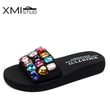 XMISTUO Fashion Women Slippers with Solid Diamond Female Summer Beach Water-resistant 3CM Low-heeled Slippers 9 Color 7167 xmistuo asual slopes with cool slippers ladiesnoble atmosphere on the grade high heeled shiny diamond slippers simple sandals