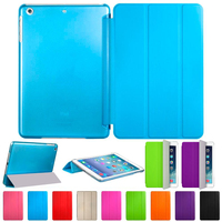 Quality Ultra Slim Smart Cover PU Leather Case With Matte Clear Back Case For Apple IPad