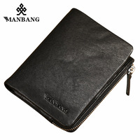 ManBang 2017 Autumn New Arrival Genuine Leather Men's Wallet For Men Small Zipper Organizer Wallets Cash Carteira For Rfid