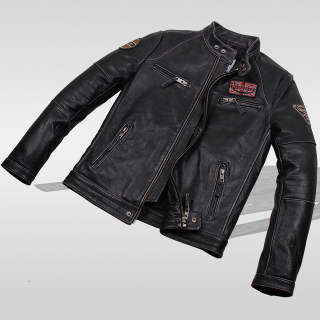 Read Description! Asian size Motorcycle rider leather jacket , vintage mens genuine leather jacket, slim leather coat