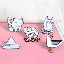 Cute Collections ! Cat butt Soldier Crab Paper Boat Black white Minimalist Hard Enamel Cartoon Animal Brooches Lapel Pins(China)