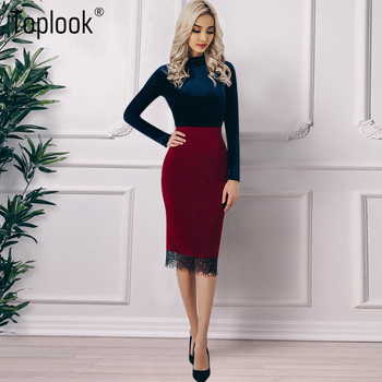 Toplook High Waist Embroidery Bodycon Skirt