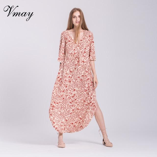 93787b482a Vmay New Arrival Women Bohemian Long Dresses Floral Printed Half Sleeve V- Neck Split Side A-Line Maxi Dress Female V1709073