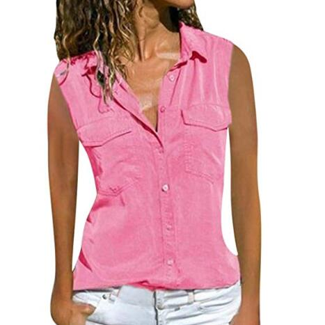 Summer Women Blouses Button Befree Boho Pocket Loose Vintage Casual Chiffon Big Large Pluse Size Vest Tank Tops Shirts