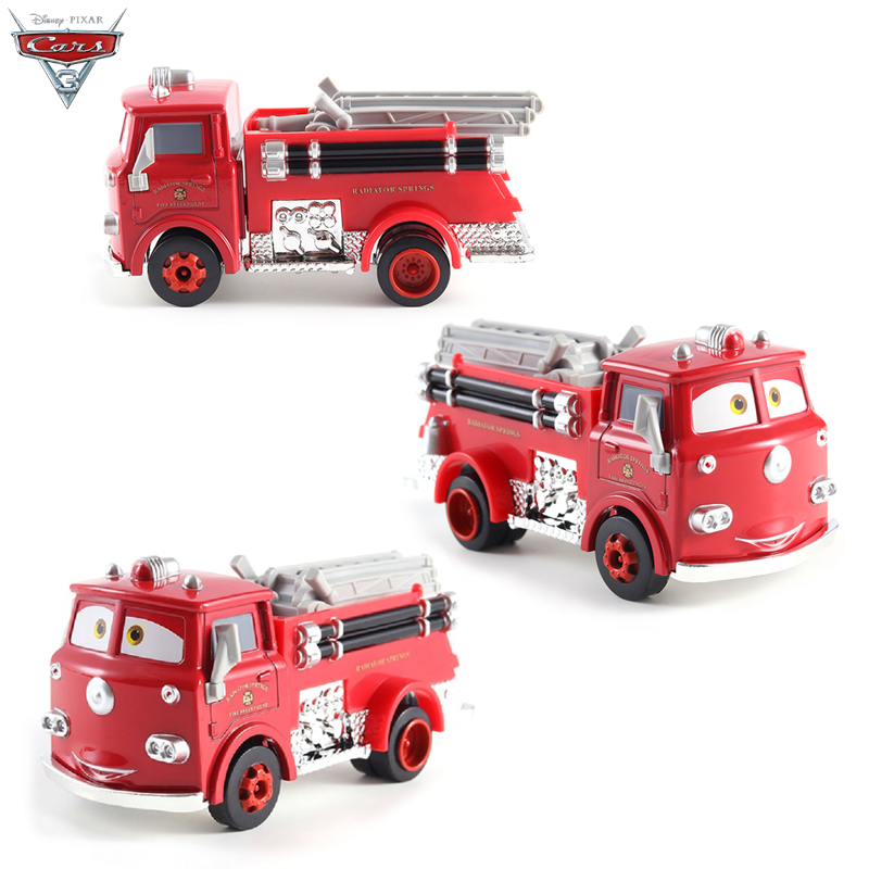Cars Disney Pixar Cars Red Fire Truck Rescue Car The King Jackson Storm Mater Diecast Metal Alloy Model Christmas Gift Boys