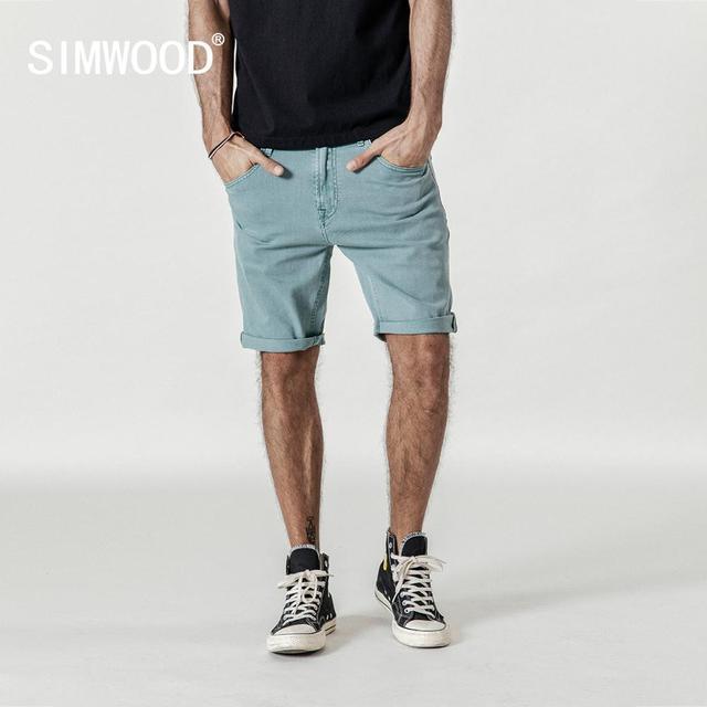 SIMWOOD offre spéciale 2020 été Shorts hommes genou longueur coton Shorts homme mode décontracté haute qualité mince marque vêtements 180073