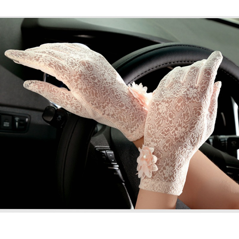 2016 Spring and Summer Women Vintage Sunscreen Sexy Lace Gloves Lady anti-uv Gloves Female driving outdoor Gloves 5 Color