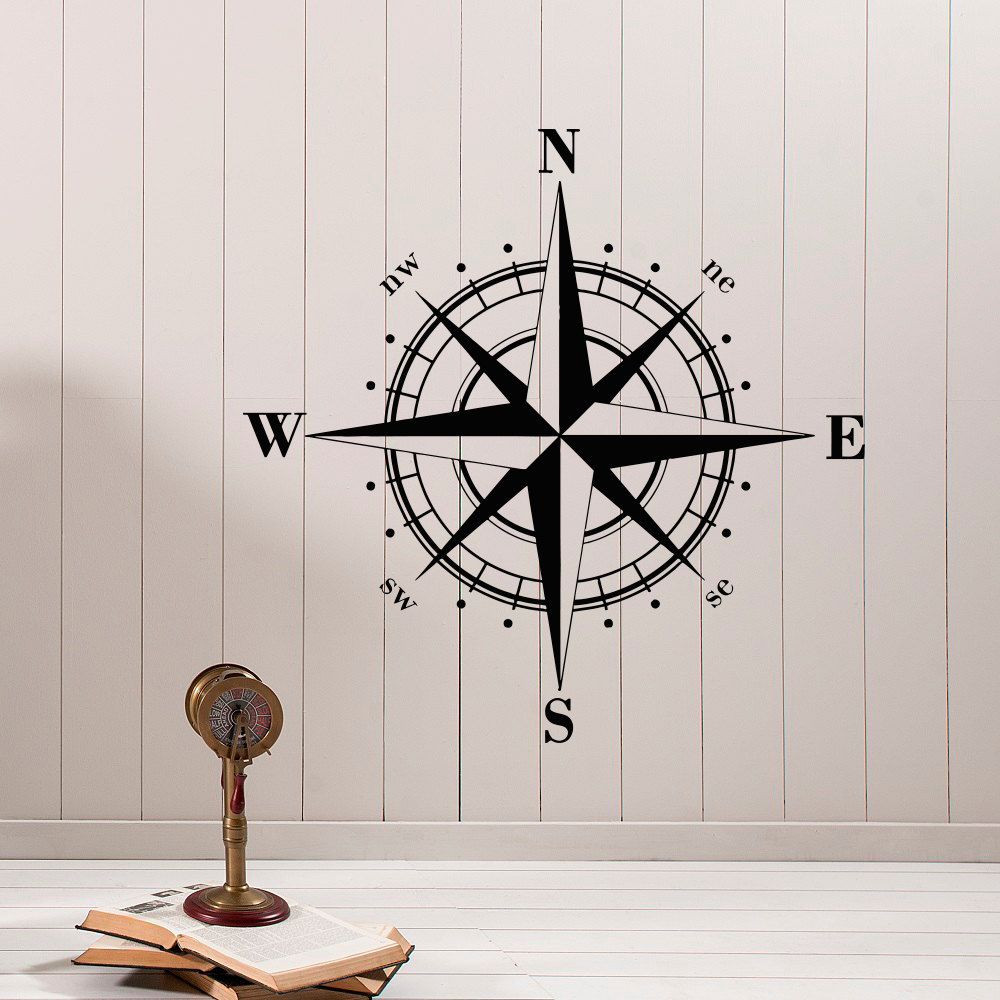 Nautical compass rose wall decal north south west east for Decoration autocollant mural