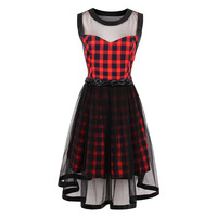 Sisjuly 2017 Summer Gothic Female Party Dress Goth Red Sexy Plaid Dresses Hollow Out A Line