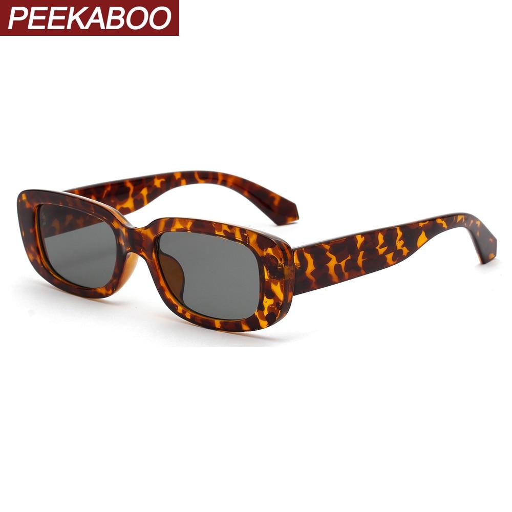 Peekaboo Rectangle Sunglasses Square Leopard Pink Retro Black Women Summer Ladies Uv400