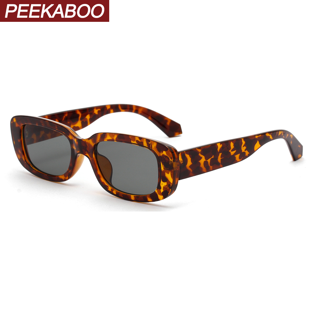 Peekaboo Men Rectangle Sunglasses Leopard Women 2019 Summer Ladies Sun Glasses Retro Square Black Pink Uv400 Dropshipping