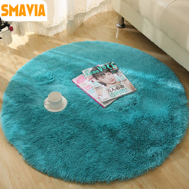 Smavia Round Solid Color Carpet Gy Area Rugs Decorative Living Room Bedroom Wool Non Slip