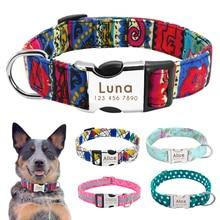 Именной ошейник для собак, нейлоновый аксессуар со светоотражающей табличкой, индивидуальная гравировка, маленький, средний, большой размер, для питбуля, Мопса
