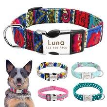 Collar de nailon para perro, Collar para mascota personalizado con placa de etiqueta de identificación grabada, reflectante para perros pequeños, medianos y grandes