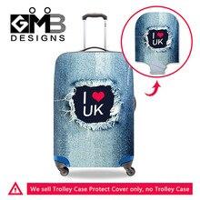 Мода жан 3D напечатаны эластичность полиэстер путешествовать покрытие багажного я люблю россию водонепроницаемый чемодан защитный чехол д...(China)