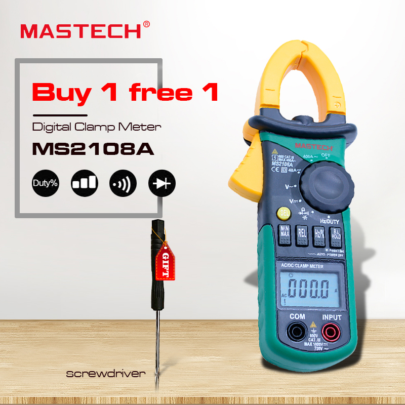 Digital Clamp Meter  MASTECH MS2108A Auto range AC 400A Current Voltage Frequency clamp MultiMeter Tester Backlight my68 handheld auto range digital multimeter dmm w capacitance frequency