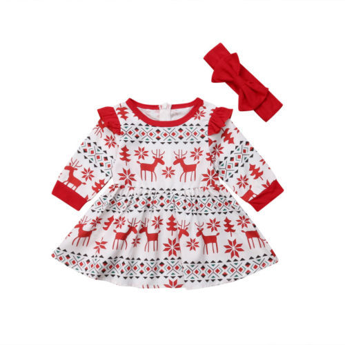 b67020a07 Navidad niñas vestidos niños niña ropa Deer Fly manga princesa vestido de  fiesta ...