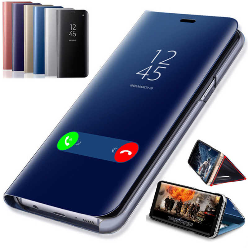 Smart Mirror Flip Case For Samsung Galaxy S10 M30 A10E A20E A70 A40 A50 A30 A20 A10 A60 A80 A90 Case Clear View Flip Phone Cover