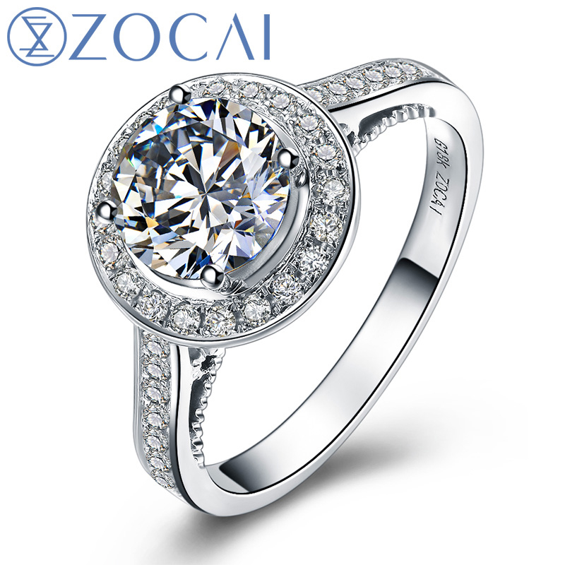 ZOCAI BRNAD MY LOVE 3.0 CARAT EFFECT 1.25 CT CERTIFIED G / VS1 18K WHITE GOLD DIAMOND ENGAGEMENT RING W02779
