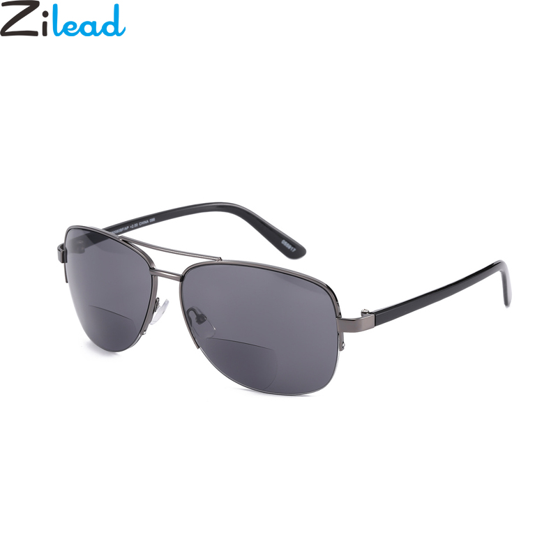 Zilead Alloy Men Half Frame Reading Glasses Pliot Bifocal Driving Sun Glasses Presbyopic Glasses Hyperopia Eyewear With Bag