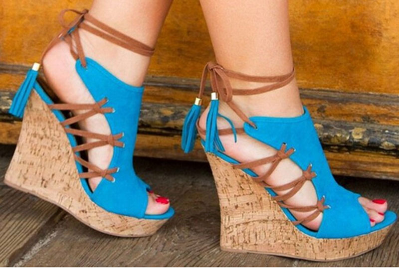 newest design peep toe ankle lace up sandal shoes woman royal blue suede leather cut-outs lace up wedge heel sandals 2015 newest royal 100