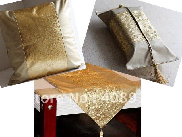 Free shipping, Luxury Gold Artificial Leather Fabric Table Sets, include 1 Table Runner, 1 Cushion Case&1 Tissue Cover, 1set/lot