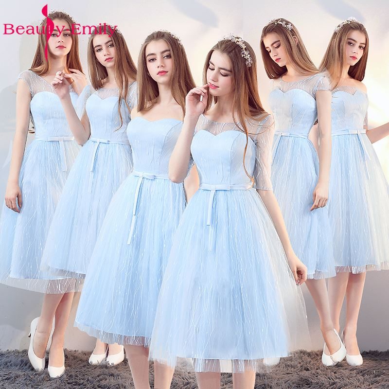 Beauty-Emily Sky Blue Midum Tulle Plus Size   Bridesmaid     Dresses   2019 A-Line Off the Shoulder Lace Up Prom   Dress   Homecoming Party
