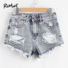 ROMWE Blue Ripped Denim Shorts Shorts Summer Fashion Blue Mid Waist Women Shorts Button Fly Ripped