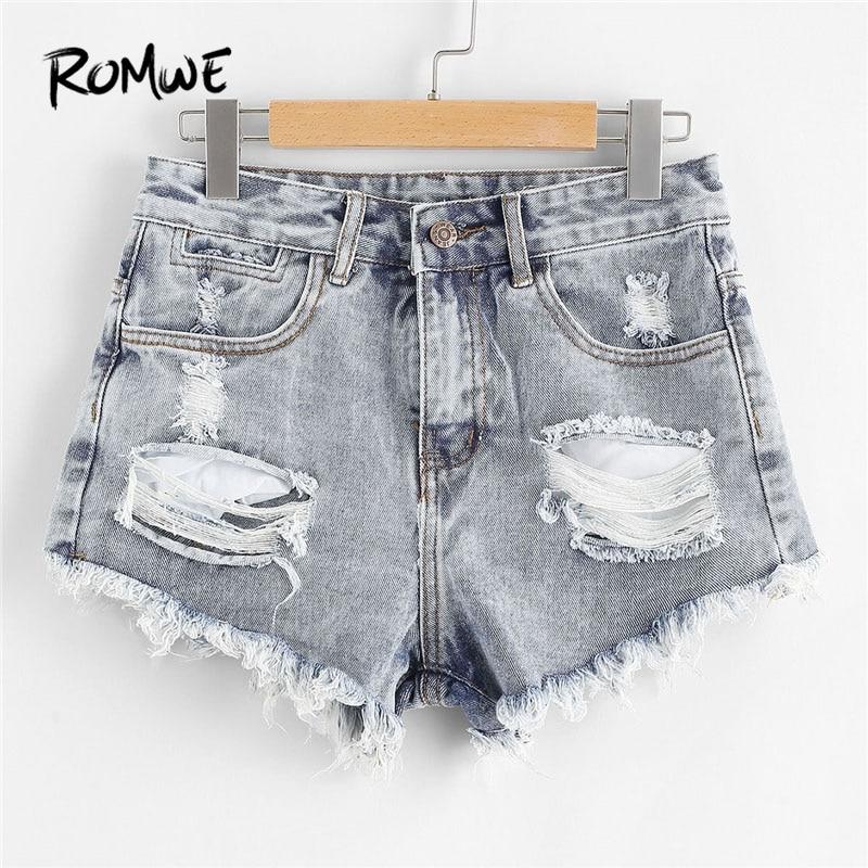 ROMWE Blue Ripped Denim   Shorts     Shorts   Summer Fashion Blue Mid Waist Women   Shorts   Button Fly Ripped   Shorts