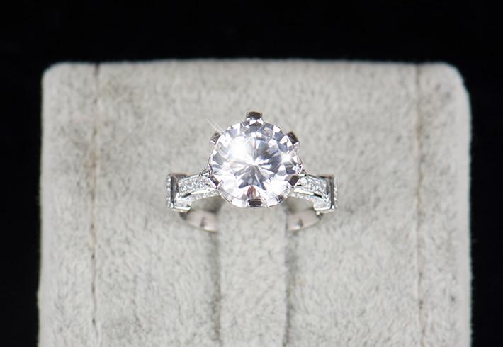 R & J 4.0ct AAAAA Ebene CZ Ring Mode Frauen Geschenk 925 Sterling - Modeschmuck - Foto 6