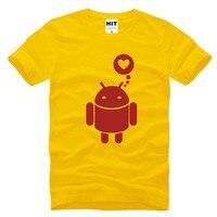 Love Funny Spoof Android Robot Printed Men S T Shirt T Shirt Men 2016 New Short
