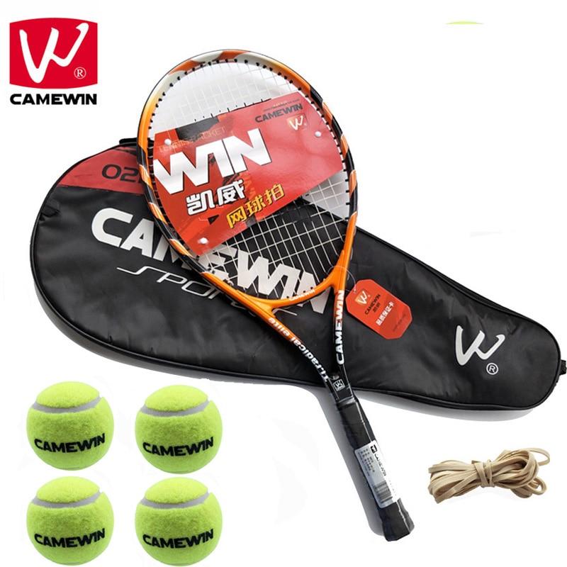 CAMEWIN 1 Paire En Fiber De Carbone Raquette De Tennis avec Sac + De Tennis De Tennis boules + Caoutchouc Bande raquete de tenis masculino pour Femmes et Hommes