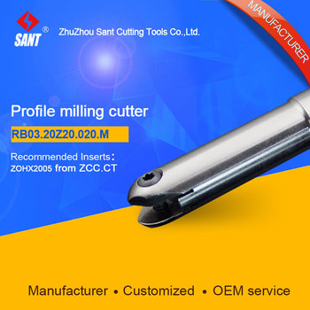 Suggested BMR04-020-G20-M  Indexable Milling cutter SANT RB03.20Z20.020.M  with ZOHX2005 carbide insert