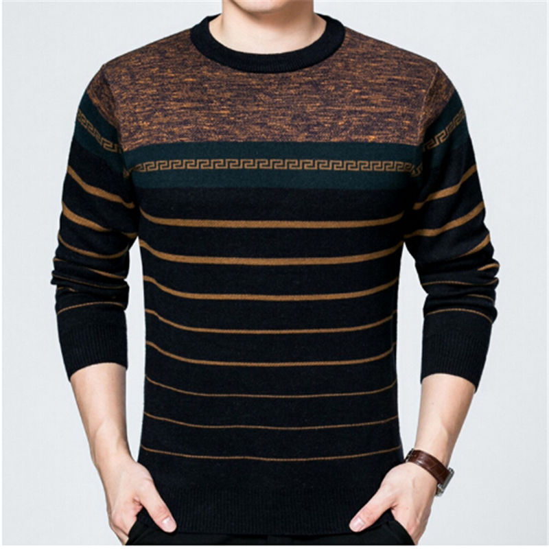 AILOOGE Striped designed Wool blends knitted Mens Sweaters 2017 Winter thick warm clothing O-neck Casual Slim Pullovers male