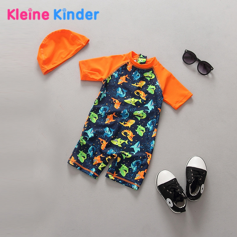 Unisex Kids Swimsuit Boys 2Pcs Summer UV Protection Toddler Infant Baby Swimwear One Piece Jumper Swimming Suit Girl Fish Print