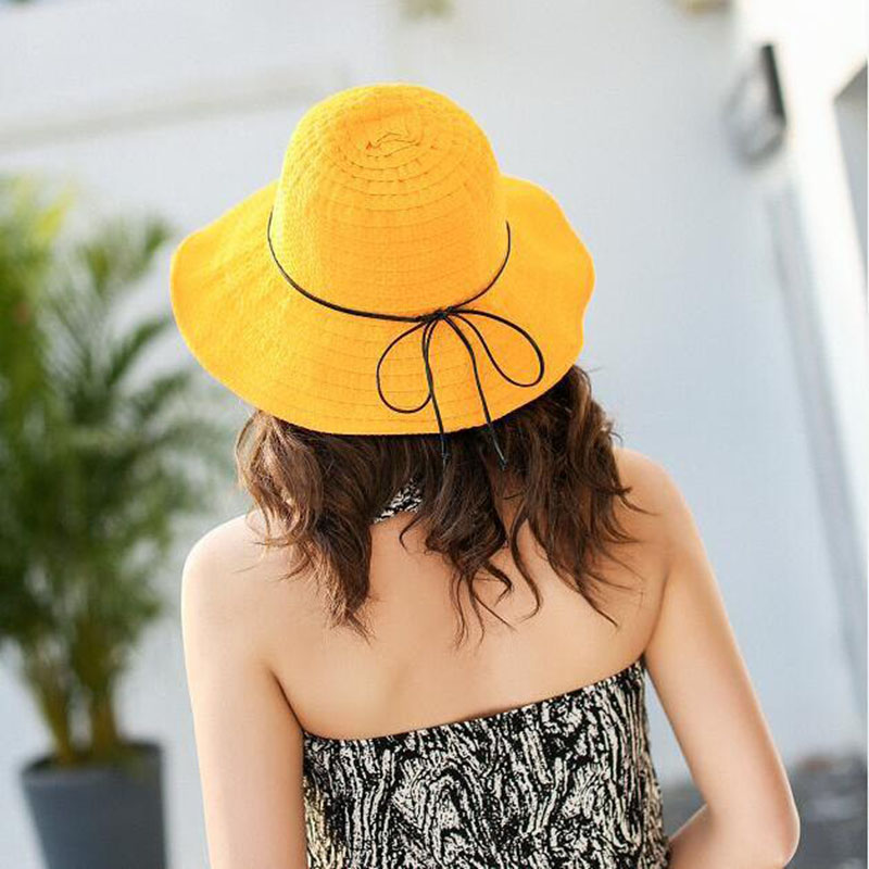New Fashion Women 39 s Hat Wide Brim Straw Hats Beach Summer Hat Panama Female Caps in Women 39 s Sun Hats from Apparel Accessories