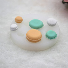 6 holes DIY manual stereo 3d Mini macaroon chocolate cake biscuit mould handmade soap silicone mold