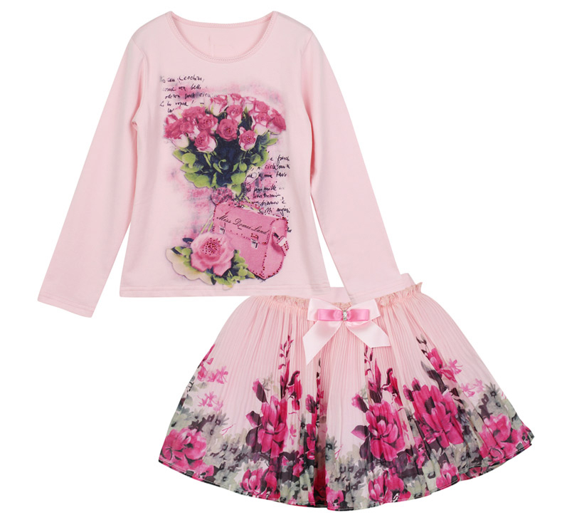 2017 New Fashion domeiland Outfits Sets For Cute Kids Girl Print Floral Long Sleeve Shirts Tops+Tutu Skirts Sets Bow Clothes 2016 new fashion boutique outfits for omika baby girls sets with 2 pcs cute print long sleeve tops bow tutu skirts size 4 12y