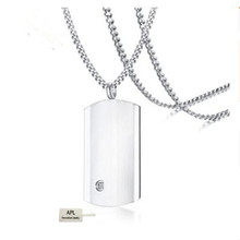 APL-personalized empty-bar Pendant Necklace stainless steel customized brand titanium stone