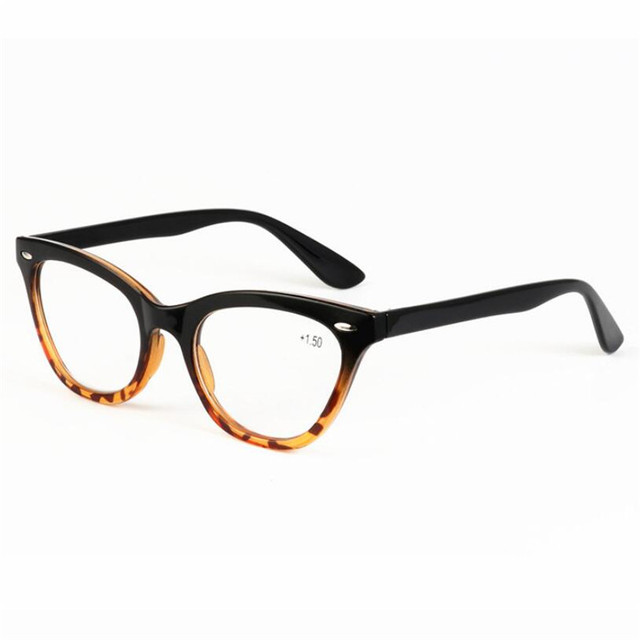 2018 New Cat Eye Leopard Print Reading Glasses Women Fashion Cute Plastic Full Eyeglasses Frame Presbyopia 1.0-3.5 R132